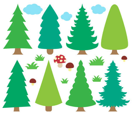 trees illustration: Stylized coniferous trees collection  vector illustration.