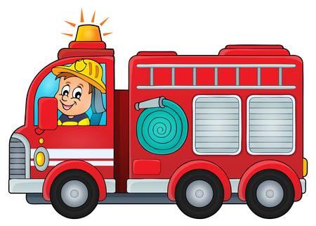 voiture de pompiers: Camion de pompiers thème image d'illustration de vecteur.
