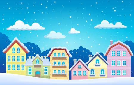 winter stylized: Stylized town in winter  vector illustration.