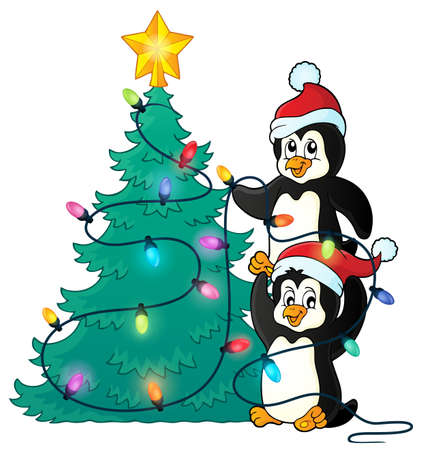 christmas tree illustration: Penguins near Christmas tree theme   vector illustration. Illustration