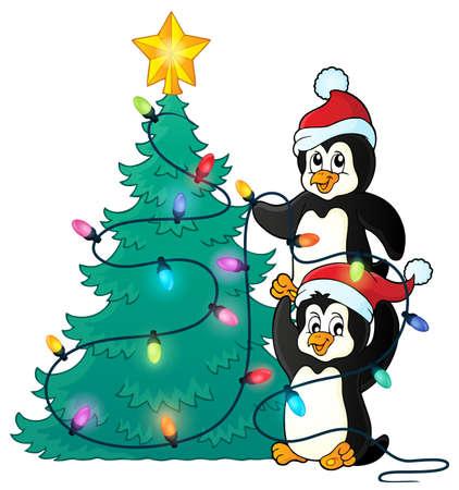 pinguinos navidenos: Ping�inos cerca de �rboles de Navidad Ilustraci�n del vector del tema.