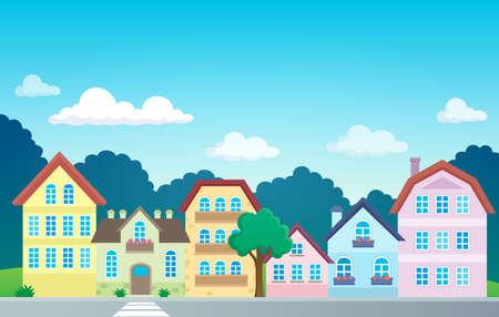 Stylized town theme image  vector illustration. Illustration