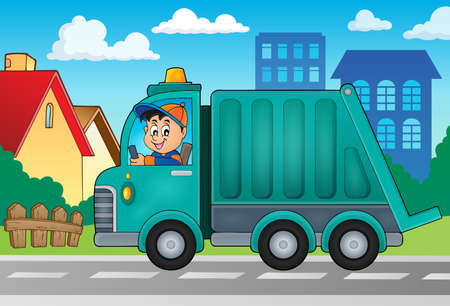 Garbage collection vrachtwagen thema afbeelding vector illustratie.