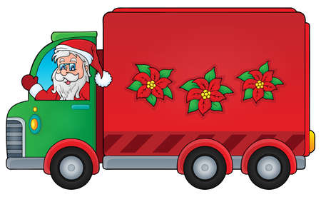 christmas theme: Christmas theme delivery car image    vector illustration. Illustration