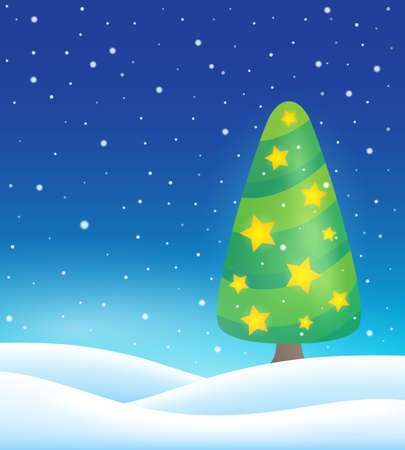 christmas tree illustration: Stylized Christmas tree topic image   vector illustration.