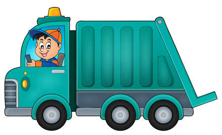 Garbage collection vrachtwagen thema vector illustratie.