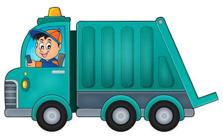 basura: La recolección de basura ilustración vectorial tema del camión.