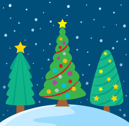 trees illustration: Stylized Christmas trees theme image   vector illustration.