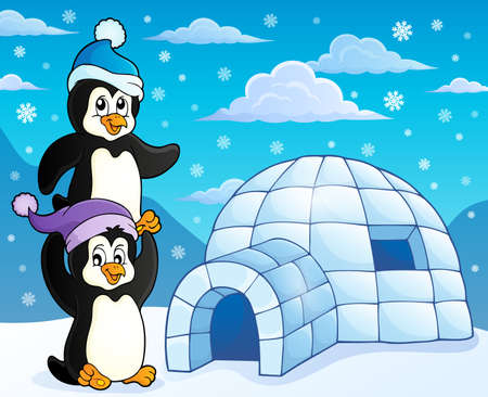 igloo: Igloo with penguins theme Illustration
