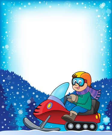 neckscarf: Frame with snowmobile theme Illustration