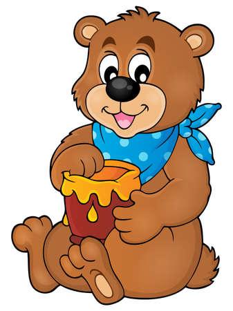 honey: Bear with honey theme image Illustration