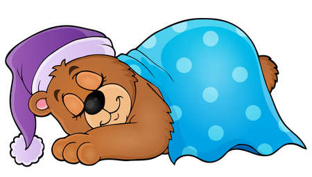 blanket: Sleeping bear theme image Illustration