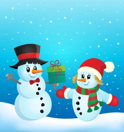neckscarf: Christmas snowmen theme image