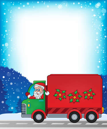 Frame with Christmas van theme Illustration