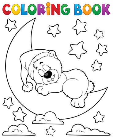 Coloring book sleeping bear theme