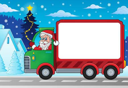 크리스마스 테마 전달 자동차 이미지