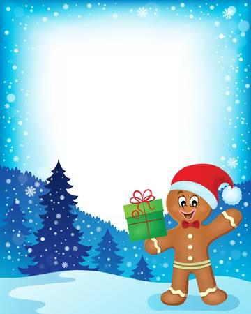 gingerbread man: Gingerbread man theme frame Illustration
