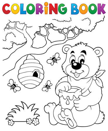 Coloring book bear theme Stock Vector - 49523430