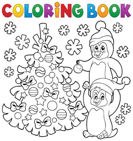 pinguinos navidenos: Colorear ping�inos de libros por el �rbol de Navidad