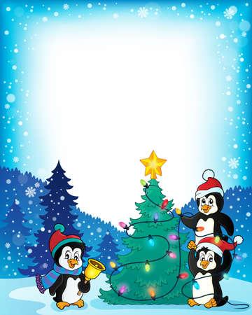 pinguinos navidenos: Cap�tulo con los ping�inos y el �rbol de Navidad