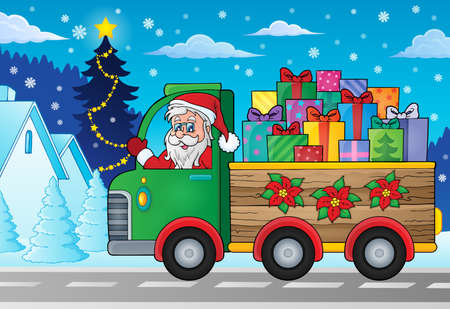 people moving: Christmas truck theme image
