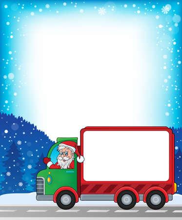 moving van: Frame with Christmas van theme Illustration