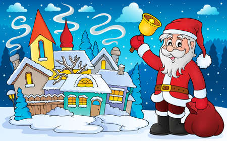 winter snow: Santa Claus with bell theme image