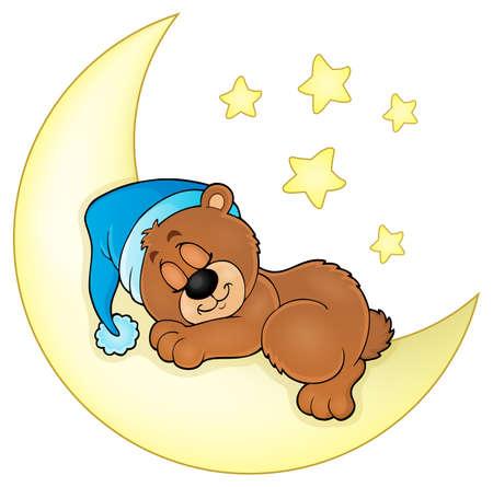 noche y luna: Imagen del tema de oso dormir Vectores