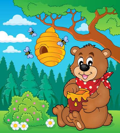 Bear with honey theme image 矢量图像