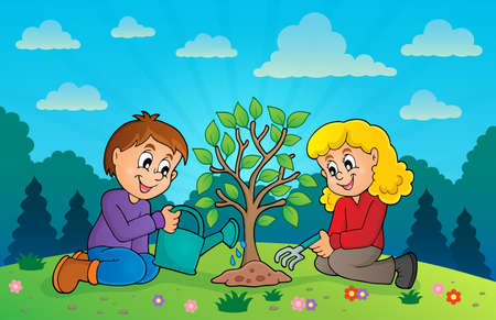 drawing trees: Kids planting tree theme image