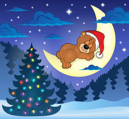 sleeping animals: Christmas sleeping bear theme image Illustration