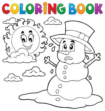 melting: Coloring book melting snowman