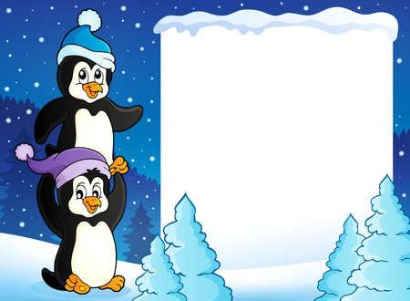 cubierto de nieve marco con los pingüinos