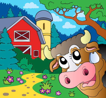 lurking: Farm theme with lurking cow