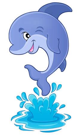 splash de agua: Imagen del tema de los delfines saltando
