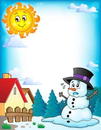 Melting snowman theme image