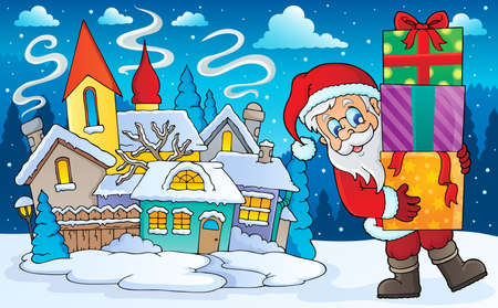 winter scenery: Santa Claus with gifts in winter scenery
