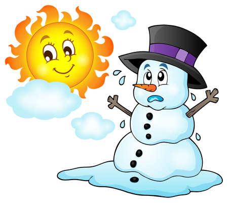 Melting snowman theme image  Illustration