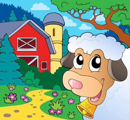 lurking: Farm theme with lurking sheep