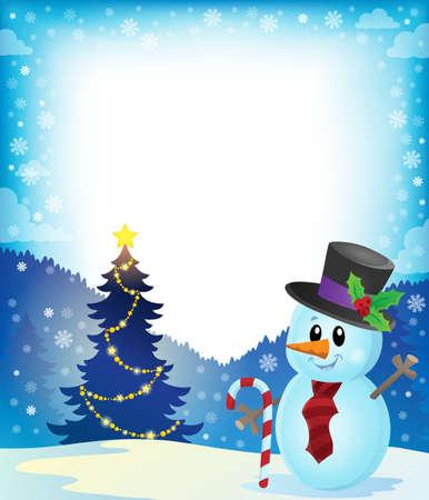 marcos decorados: Marco de los árboles de navidad y muñeco de nieve