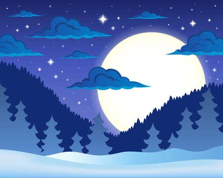 arbres silhouette: Hiver thème de fond de nuit Illustration