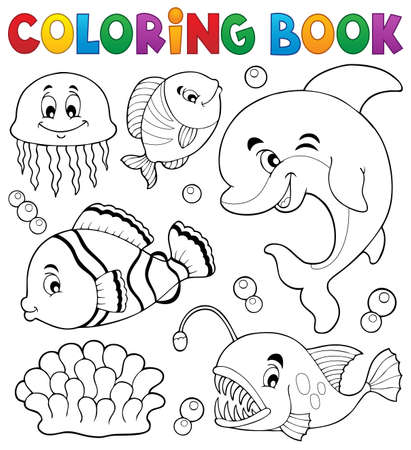 sea anemone: Coloring book ocean fauna topic