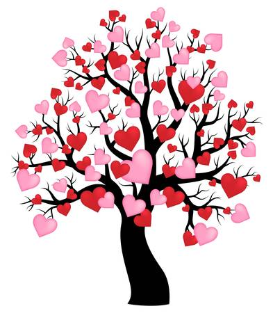 Silhouette des Baumes mit Herzen Thema 1 - eps10 Vektor-Illustration. Vektorgrafik