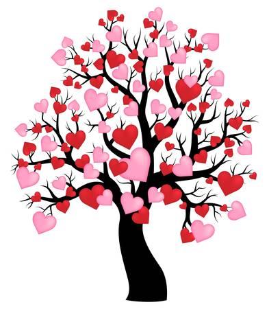 Silueta de árbol con corazones tema 1 - ilustración vectorial eps10.