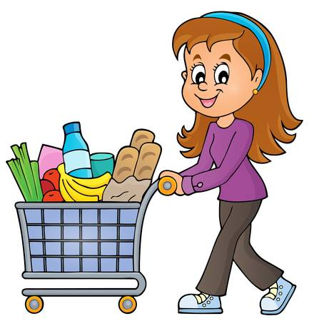 Woman with full shopping cart - eps10 vector illustration. Stock Illustratie
