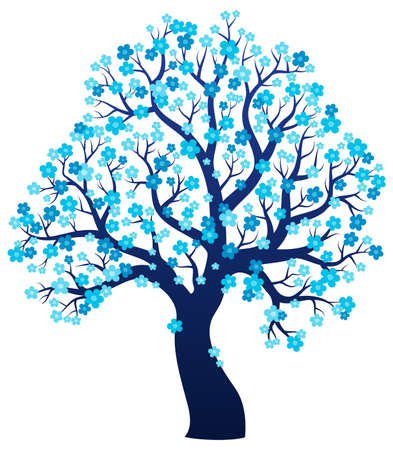 tree branch: Silhouette of blooming tree theme 2 - eps10 vector illustration.