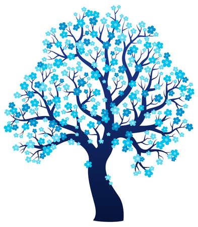 Silueta de árbol que florece el tema 2 - ilustración vectorial eps10.