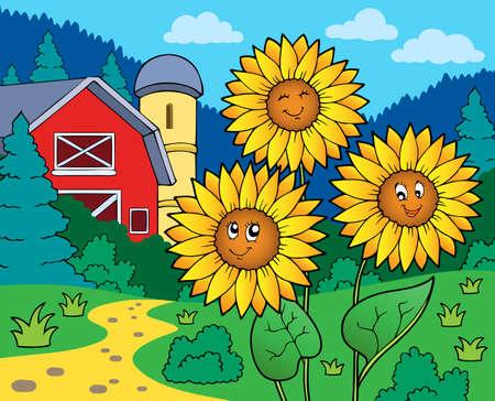 farmstead: Sunflowers near farm - eps10 vector illustration.