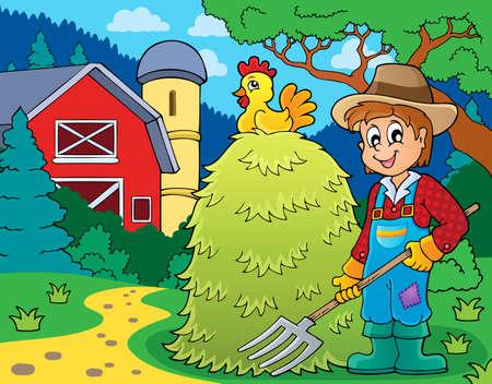 farmstead: Farmer topic image 1 - eps10 vector illustration.