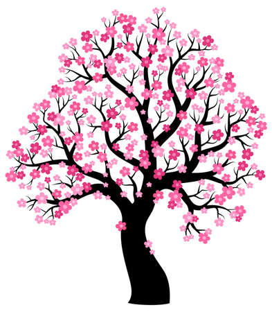 stylized: Silhouette of blooming tree theme 1 - eps10 vector illustration.